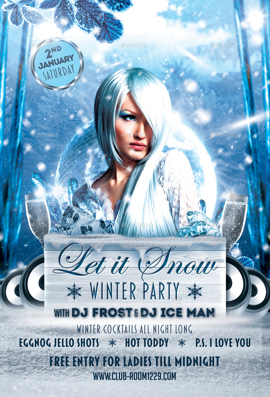 let it snow winter party flyer template by designroom 01 let it snow flyer template jpg