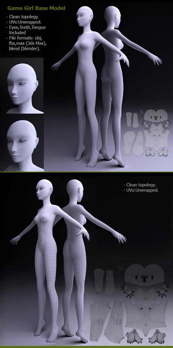 Game Girl Base Model - 3DOcean Item for Sale