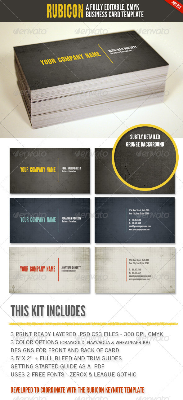 Rubicon Business Card Template Set - Corporate Business Cards