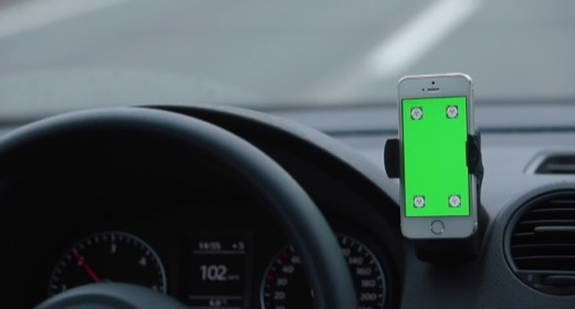 Green Screen Phone in Car Concept Navigation System