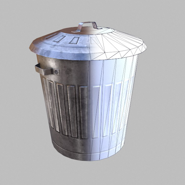 Low Poly Game Ready Trash Can  - 3DOcean Item for Sale