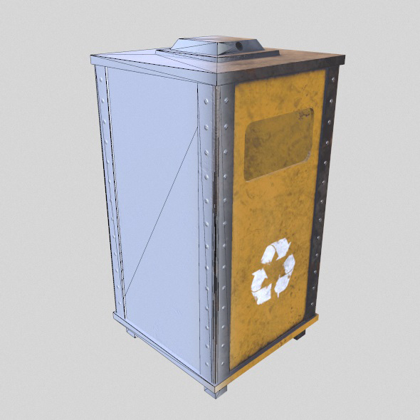 Low Poly Game Ready Trash Bin  - 3DOcean Item for Sale