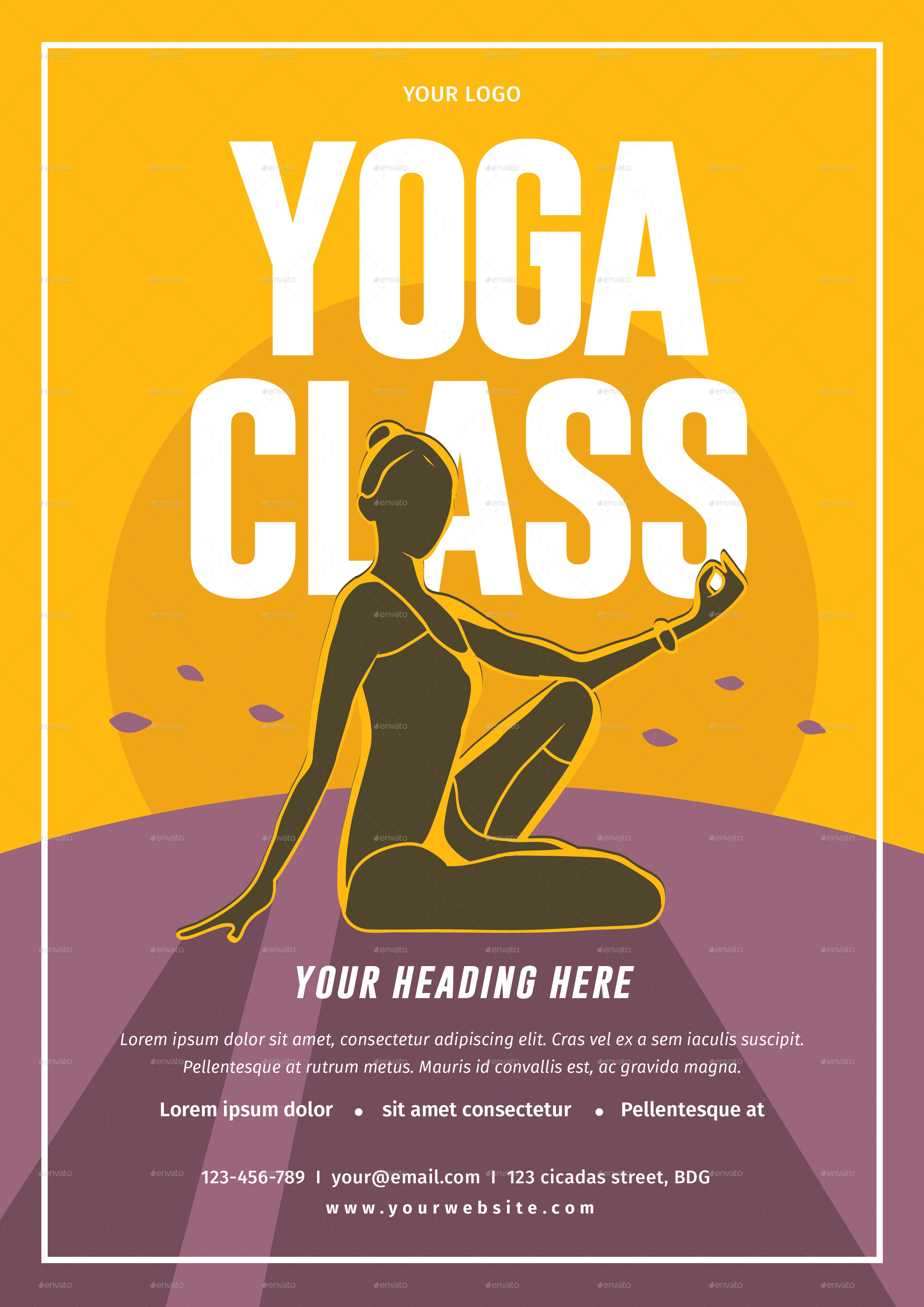 Yoga Class Flyer by lilynthesweetpea – Yoga Flyer