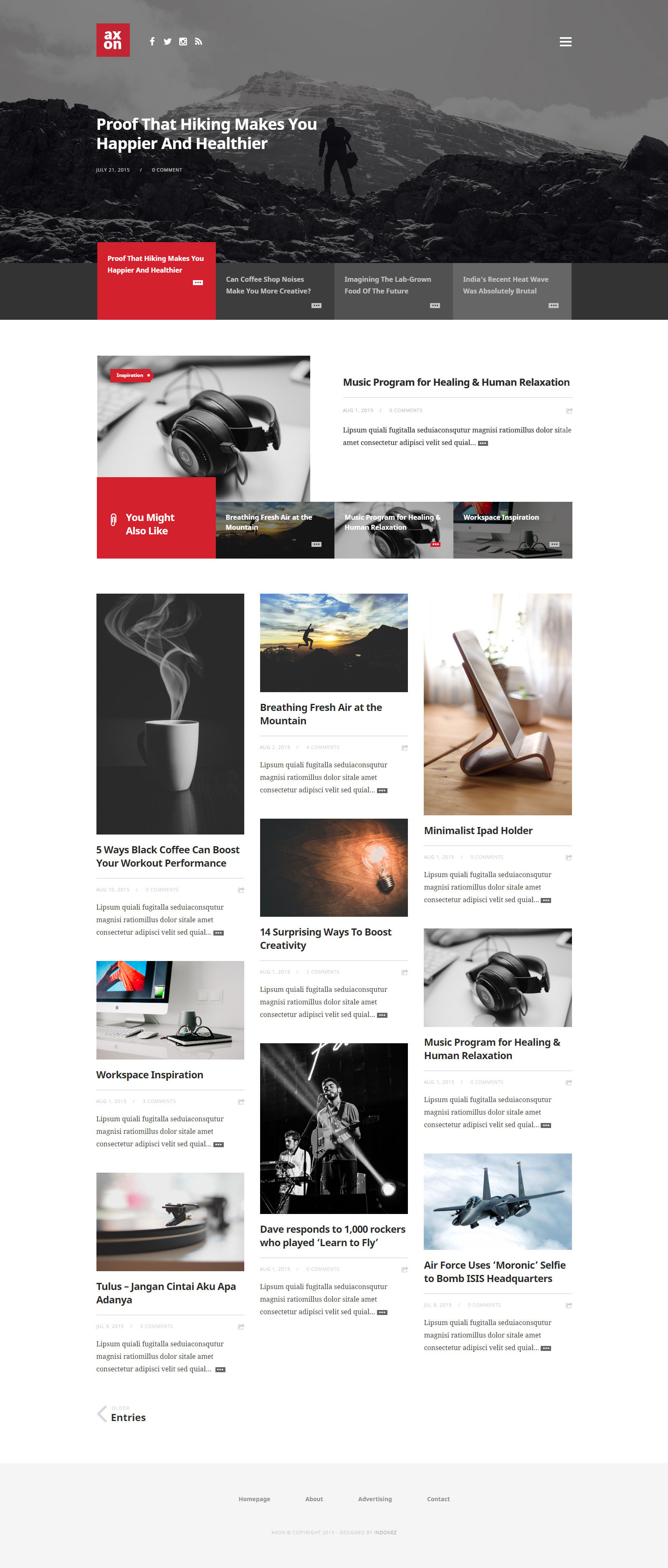 Axon minimalist magazine wordpress theme by indonez for Minimalist homepage