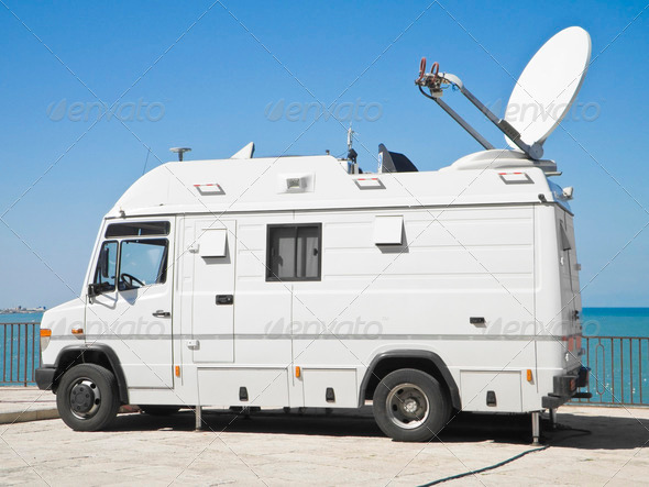 Tv news truck. - Stock Photo - Images