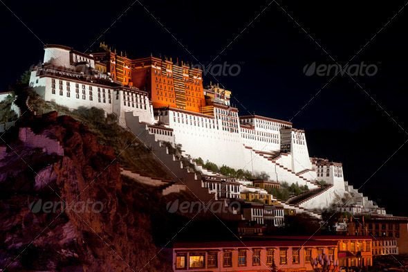 Night view of Potala Palace  - Stock Photo - Images