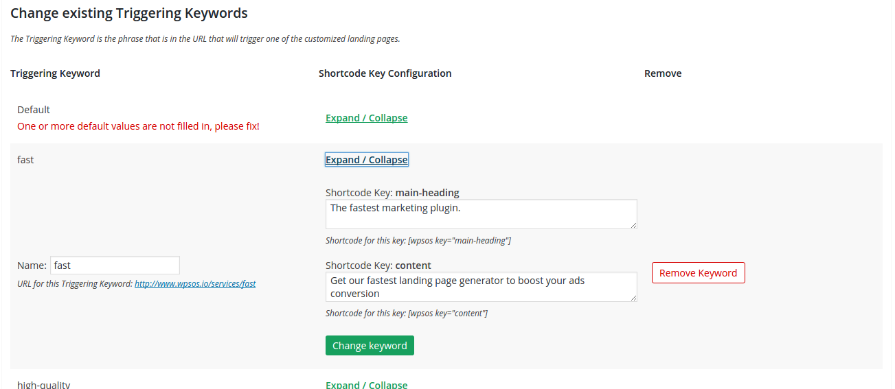 keyword landing page