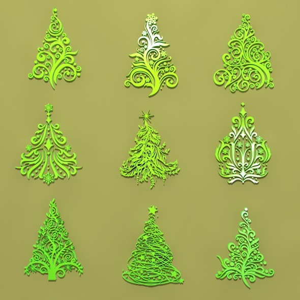 9 Christmas Trees Ornament - 3DOcean Item for Sale