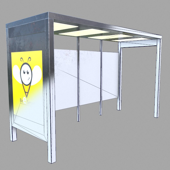 3DOcean Low Poly Game Ready Bus Shelter 14201174