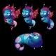 Cute Characters Unusual Blue Seahorses