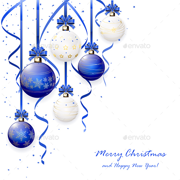 Blue and White Christmas Balls