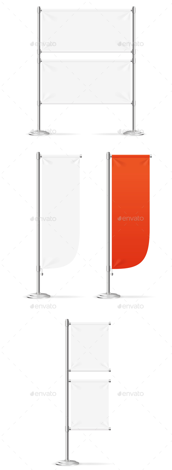 Blank Banner Flag Red and White Set