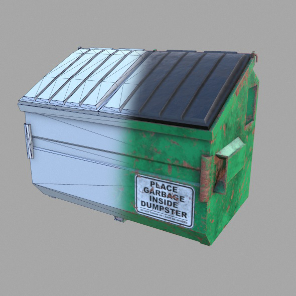 Low Poly Game Ready Dumpster - 3DOcean Item for Sale