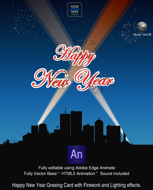 CodeCanyon Happy New year with Fireworks Greeting Card CREATED IN ADOBE EDGE ANIMATE 14211388