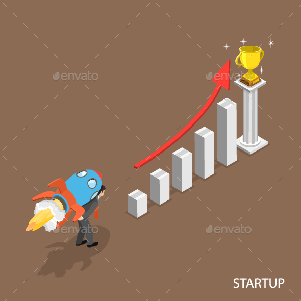 Startup Isometric Flat Concept