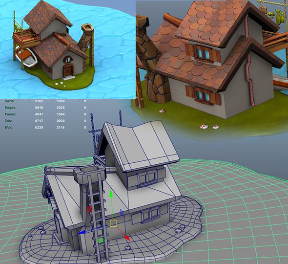 3DOcean Toon Mediaval Shack House Model 1 14219229