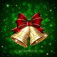 Christmas Bells on Green Background