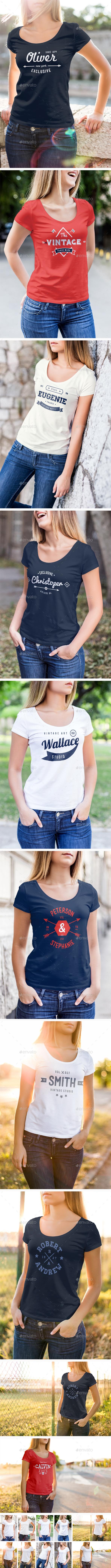 T-Shirt Mock-Up Female Model Edition