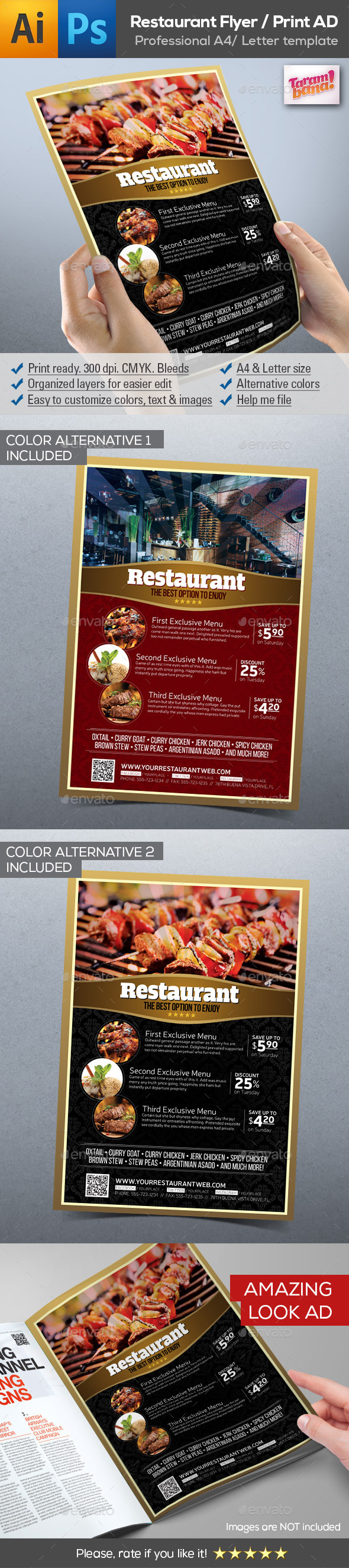 Modern Restaurant Flyer AD Template