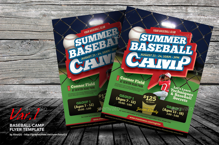 Baseball Camp Flyer Templates by kinzi21 – Baseball Flyer