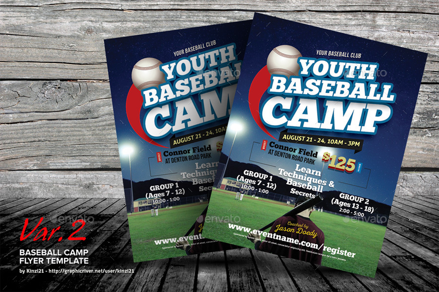 Baseball Camp Flyer Templates by kinzi21 – Camp Flyer Template