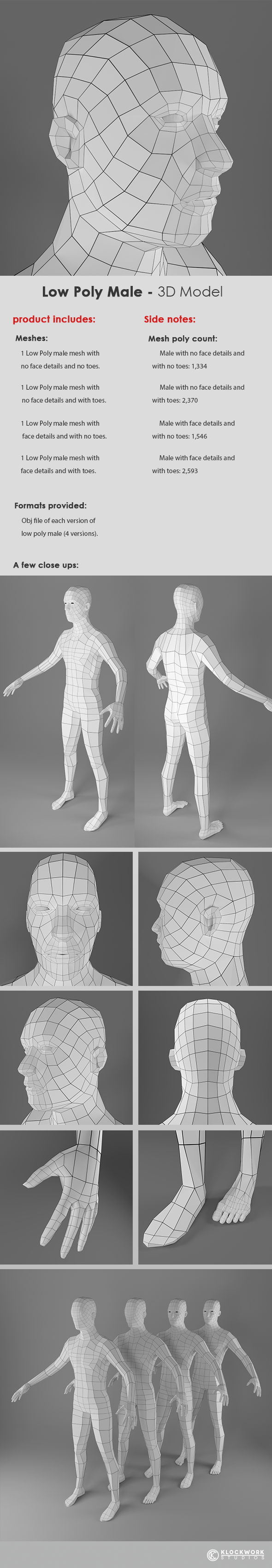Low Poly Male Base Mesh - 3DOcean Item for Sale
