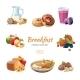 Cartoon Breakfast Food Icons Set