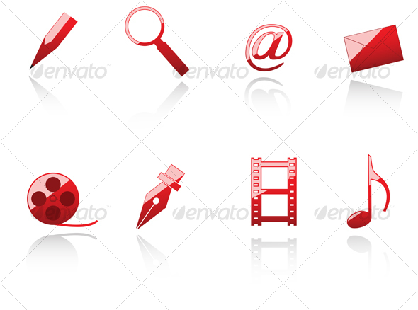 Set of internet and media symbols - Web Technology