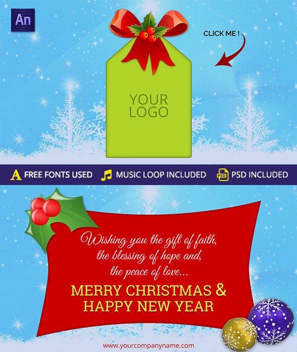 Merry christmas happy new year greeting card animations purchase 1000 m4hsunfo