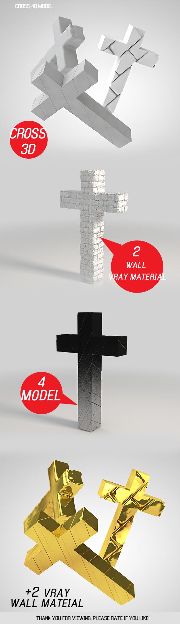 Cross 3D model - 3DOcean Item for Sale
