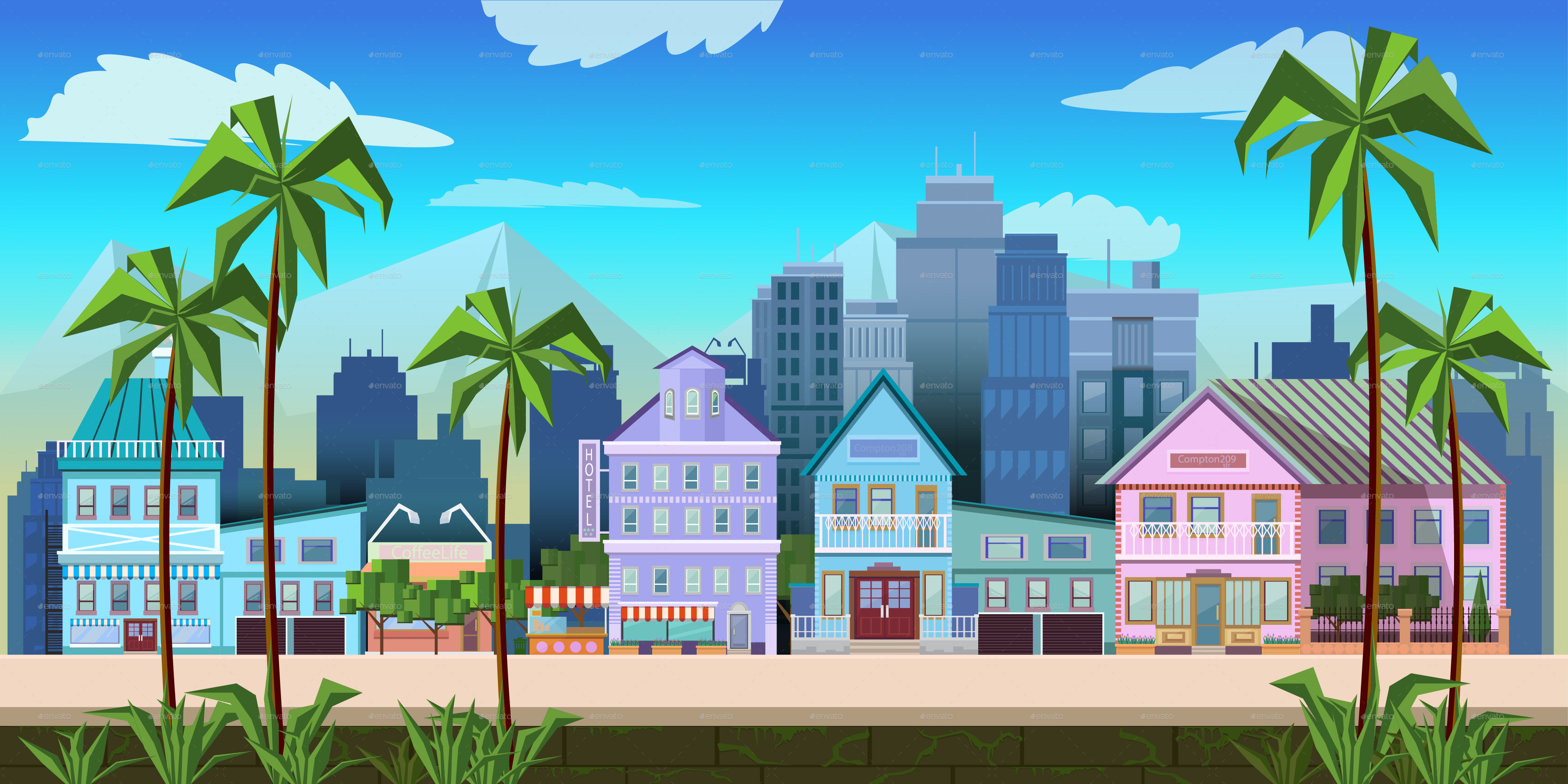 Decorative Objects For Home Sunny California City Game Background Vector By