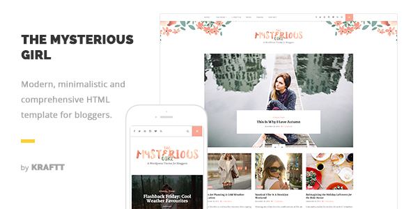 The Mysterious Girl - Responsive HTML Template for Bloggers