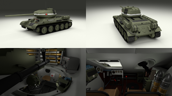 T-34/85 with Interior - 3DOcean Item for Sale