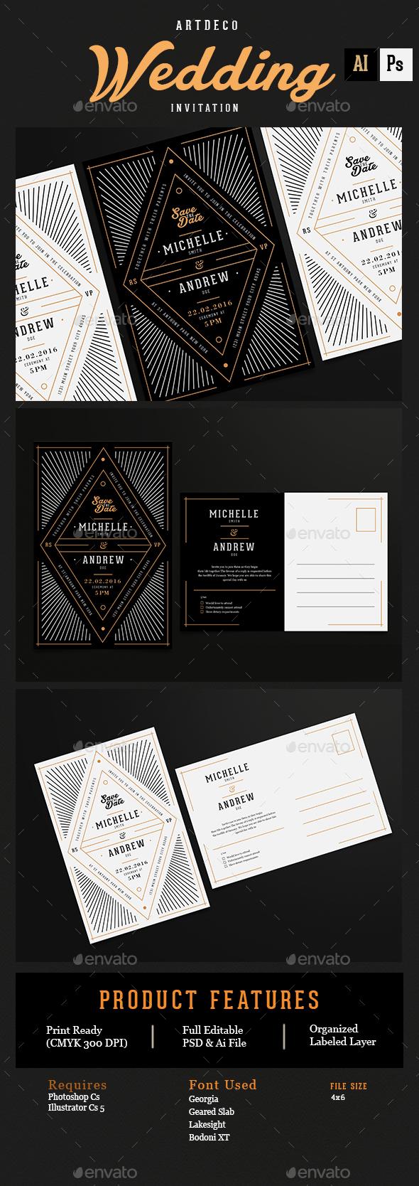 Art Deco Wedding Invitation/Card