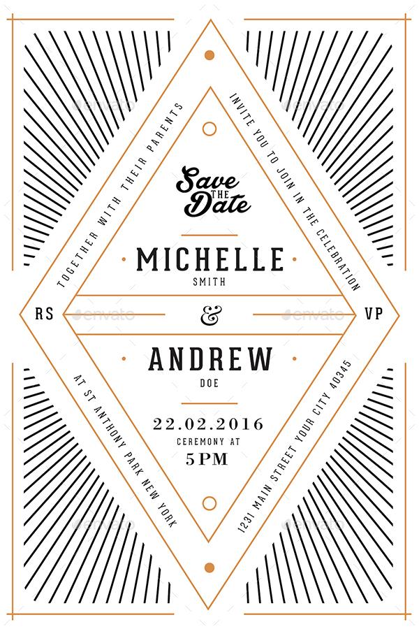 art deco wedding invitation/card by guuver | graphicriver, Wedding invitations