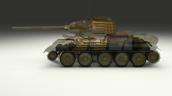 T-34/85 Interior/Engine Bay Full Camo - 3DOcean Item for Sale
