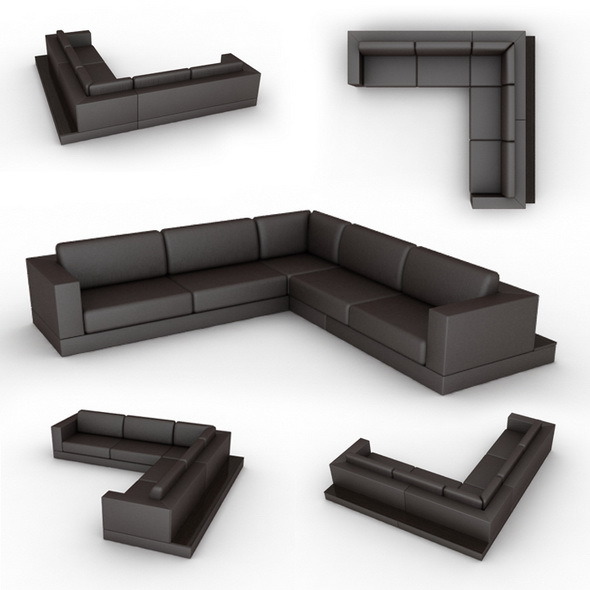 Corner sofa with shelf 3000x3250 - 3DOcean Item for Sale