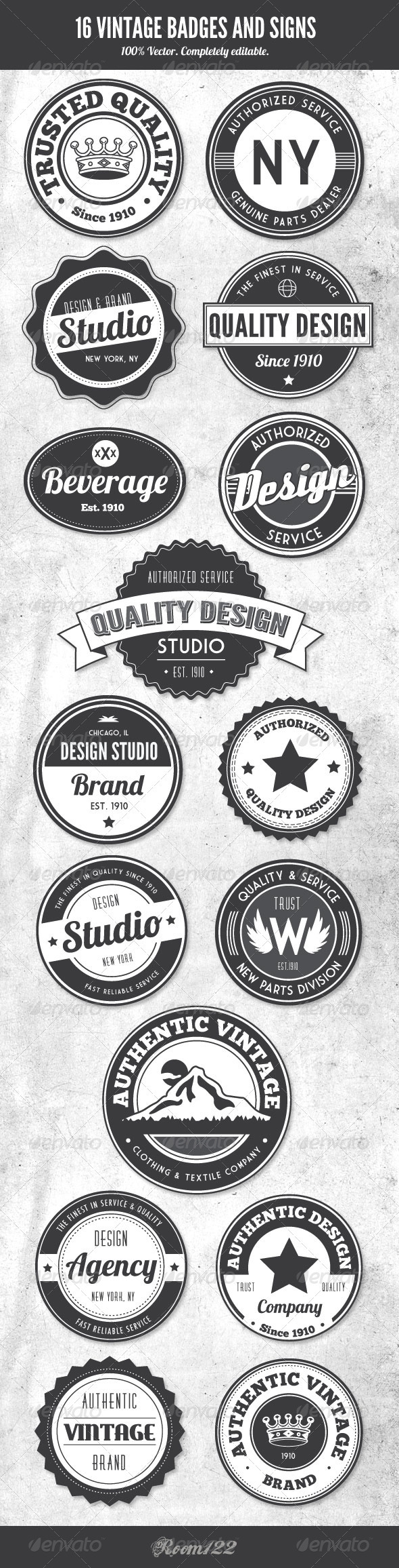 GraphicRiver Vintage Style Badges and Logos 1428962