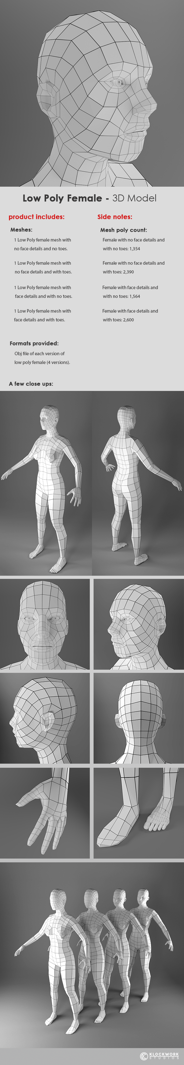 Low Poly Female Base Mesh - 3DOcean Item for Sale