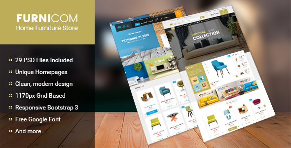 Furnicom – Multipurpose eCommerce PSD Template (Retail) images