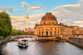 Museum island on Spree river and Alexanderplatz TV tower in cent