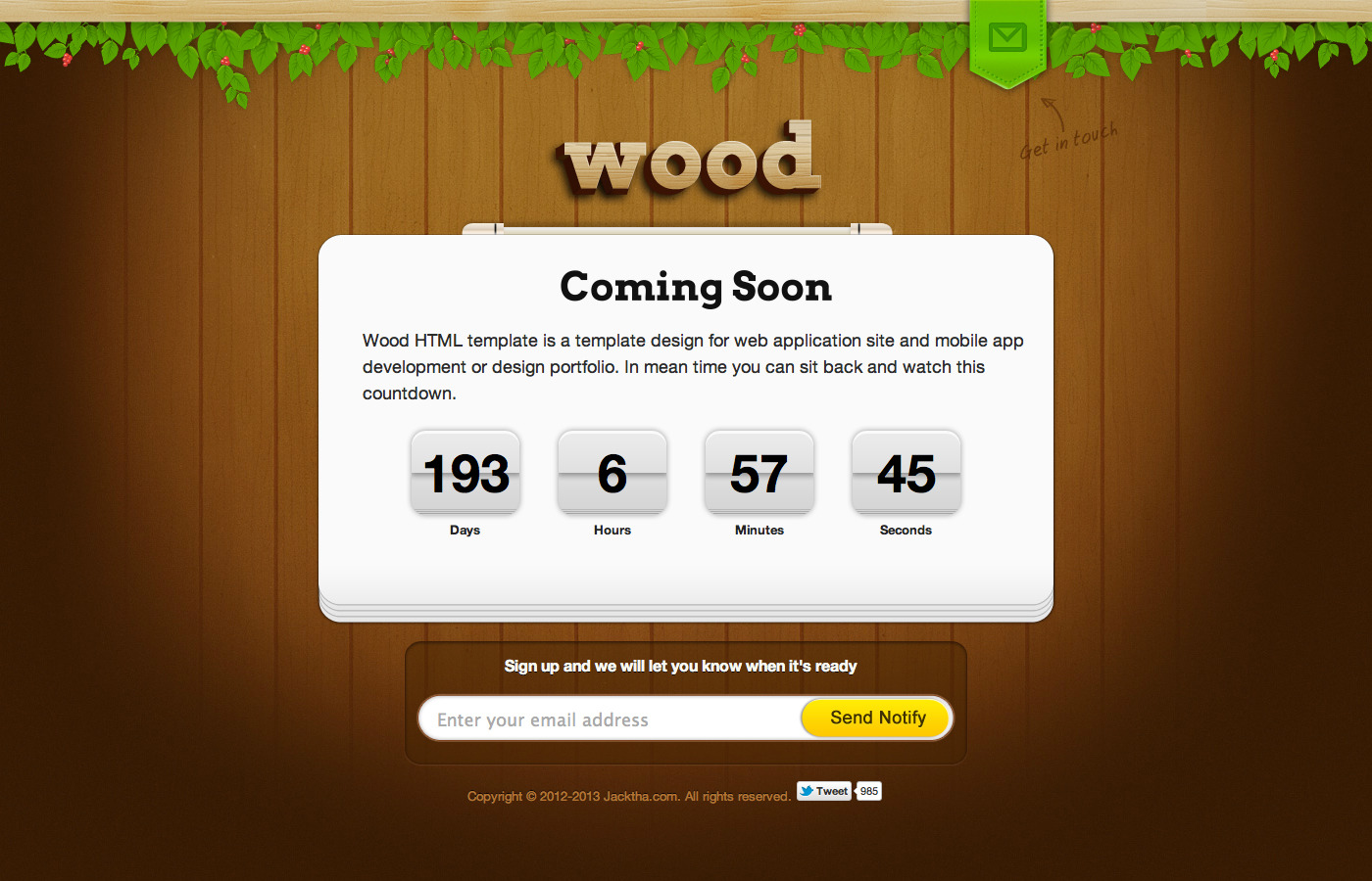 Wood Coming Soon Template