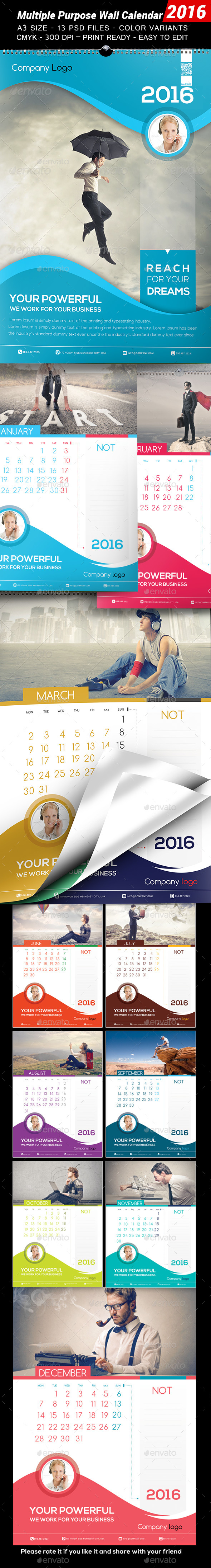 Multiple Purpose Wall Calendar 2016