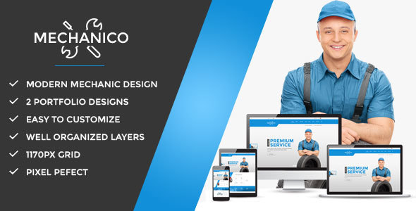 Mechanico – Car Mechanic Shop PSD (Business) images