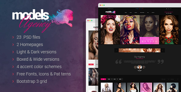 Models Agency – premium portfolio PSD Template (Photography) images