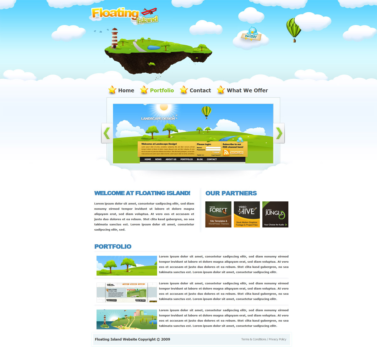 Floating Island Drawn Style XHTML Template