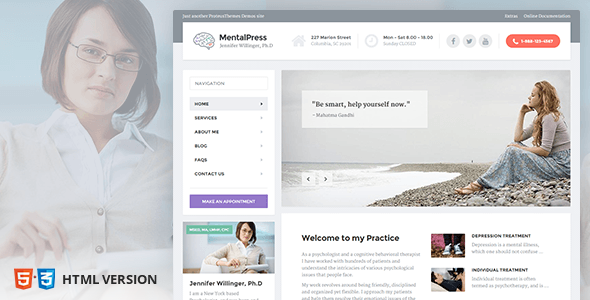 Psychology, Counseling & Medical Website Template — MentalPress
