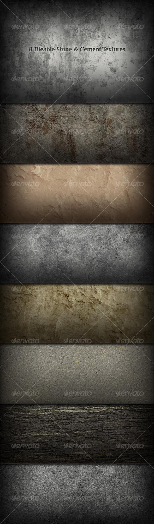 8 Tileable Stone/Concrete/Plaster Textures - Miscellaneous Textures / Fills / Patterns