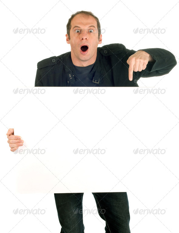 man showing billboard - Stock Photo - Images