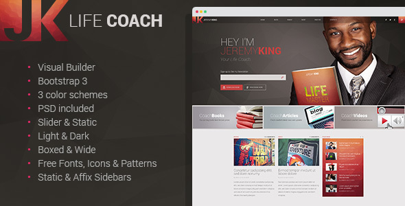 11. Life Coach - Multipage HTML Template with Visual Builder